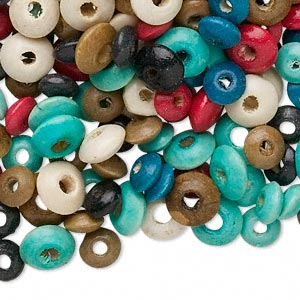 Bead Mix, Wood, Mixed Colors, 5x3mm-8x4mm Rondelle. Sold Per 250-gram Pkg, Approximately 4,600 4,700 Beads