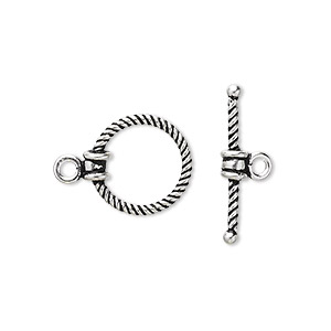 Clasp, Toggle, Antiqued Sterling Silver, 14.5x14mm Twisted Round. Sold Individually