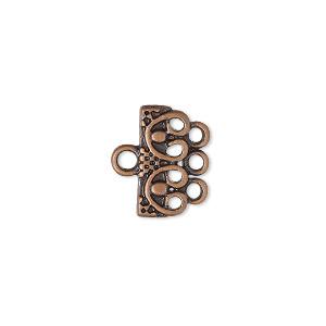 "End Bar, Antique Copper-finished ""pewter"" (zinc-based Alloy), 16x7mm 3-strand Single-sided Rectangle Beaded Design. Sold Per Pkg 12"