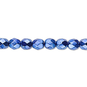 Bead, Czech Fire-polished Glass, Opaque Dark Blue Carmen, 6mm Faceted Round. Sold Per 16-inch Strand 152-19001-17-6mm-23980-70033