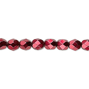 Bead, Czech Fire-polished Glass, Opaque Red Carmen, 6mm Faceted Round. Sold Per 16-inch Strand 152-19001-17-6mm-23980-70499