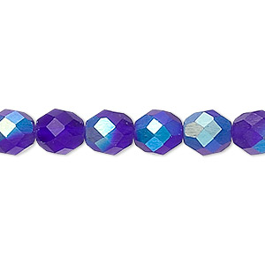 Bead, Czech Fire-polished Glass, Matte Dark Blue AB, 8mm Faceted Round. Sold Per 16-inch Strand 152-19001-00-8mm-30090-28771
