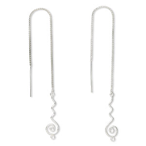Ear Thread Findings Sterling Silver Silver Colored