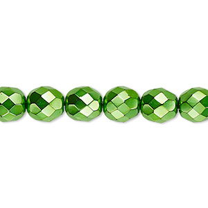 Bead, Czech Fire-polished Glass, Opaque Emerald Green Carmen, 8mm Faceted Round. Sold Per 16-inch Strand 152-19001-17-8mm-23980-70053