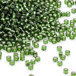 Round Translucent Seed Bead Silver Lined Glass #8 Green Dyna-Mites