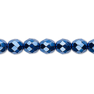 Bead, Czech Fire-polished Glass, Opaque Dark Blue Carmen, 8mm Faceted Round. Sold Per 16-inch Strand 152-19001-17-8mm-23980-70033