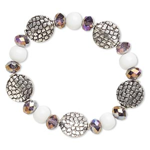 Bracelet, Stretch, Glass Antique Silver-finished Brass, Purple AB White, 14mm Wide, 6-1/2 Inches. Sold Individually 4817JD