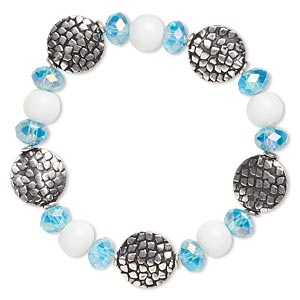 Bracelet, Stretch, Glass Antique Silver-finished Brass, Aqua Blue AB White, 14mm Wide, 6-1/2 Inches. Sold Individually 4818JD