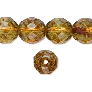 100 TORTOISE FIRE POLISHED FACETED ROUND GLASS BEADS 3MM