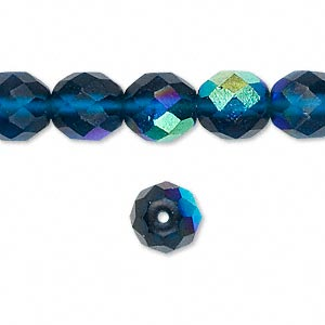 Bead, Czech Fire-polished Glass, Matte Blue AB, 10mm Faceted Round. Sold Per 16-inch Strand 152-19001-00-10mm-60080-28771