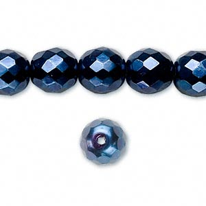 Bead, Czech Fire-polished Glass, Opaque Dark Blue Carmen, 10mm Faceted Round. Sold Per 16-inch Strand 152-19001-17-10mm-23980-70033