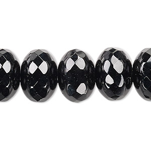 Bead, Czech Fire-polished Glass, Jet Black, 17x12mm Faceted Rondelle. Sold Per Pkg 8 152-35001-00-17mm-23980