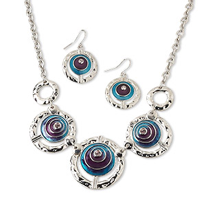 Ornate Crystal Teal and Silver Necklace and Bracelet Set \u2013 Starry Czech Fire Polished Teal AB Faceted Rondelles and Silver Accents