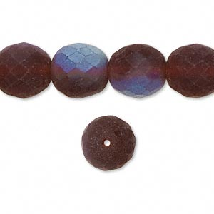 Bead, Czech Fire-polished Glass, Brown Matte AB, 12mm Faceted Round. Sold Per 16-inch Strand 152-19001-00-12mm-10110-28701