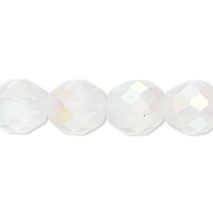 Bead, Czech Fire-polished Glass, Matte Opal AB, 12mm Faceted Round. Sold Per 16-inch Strand 152-19001-00-12mm-00030-28771