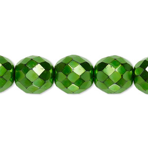 Bead, Czech Fire-polished Glass, Opaque Emerald Green Carmen, 12mm Faceted Round. Sold Per 16-inch Strand 152-19001-17-12mm-23980-70053