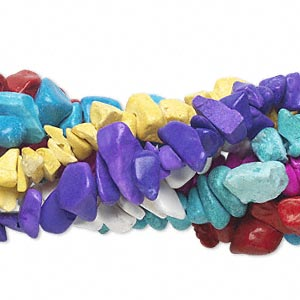 Bead Mix, Magnesite (dyed / Stabilized), Mixed Colors, Small Chip. Sold Per Pkg (7) 35-inch Strands