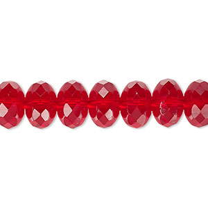 Bead, Czech Fire-polished Glass, Ruby Red, 11x7mm Faceted Rondelle. Sold Per 16-inch Strand 152-35001-00-11mm-90090