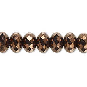 Bead, Czech Fire-polished Glass, Opaque Bronze, 11x7mm Faceted Rondelle. Sold Per 16-inch Strand 152-35001-00-11mm-23980-14415