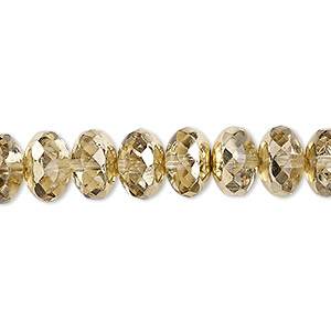 Bead, Czech Fire-polished Glass, Metallic Pale Gold, 11x7mm Faceted Rondelle. Sold Per 16-inch Strand 152-35001-17-11mm-00030-97387