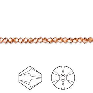 Bead, Swarovski® Crystals, Crystal Passions®, Crystal Copper, 3mm Xilion Bicone (5328). Sold Per Pkg 48 5328