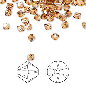 Bead, Swarovski® Crystals, Crystal Passions®, Crystal Copper, 4mm Xilion Bicone (5328). Sold Per Pkg 48 5328