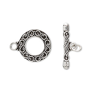 Clasp, Toggle, Antiqued Sterling Silver, 17.5mm Round Wire Design. Sold Individually