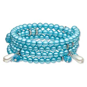 Bracelet, Glass / Glass Pearl / Acrylic / Silver-finished Steel Memory Wire / Silver-coated Plastic, Aqua Blue Light Blue, Teardrop Round, 24mm Wide, Adjustable. Sold Individually 4906JD
