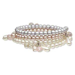 Bracelet, Glass / Glass Pearl / Acrylic / Silver-finished Steel Memory Wire / Silver-coated Plastic, Champagne / White / Lavender, Round, 24mm Wide, Adjustable. Sold Individually 4908JD