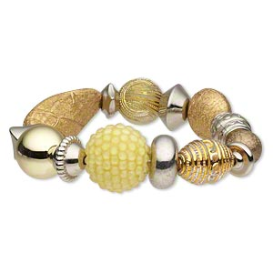 Bracelet, Stretch, Acrylic Silver- Gold-coated Plastic, Yellow, Flat Round, 7-1/2 Inches. Sold Individually 4918JD