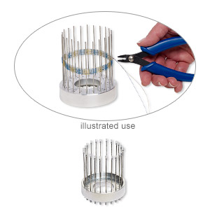 Bangle Bracelet Weaver, Beadalon®, Plastic / Steel / Aluminum, Clear, 3-1/4 X 3/4 Inch Base / 3-3/4 Inch Warp Pin / 8.5x3mm Fastener. Sold Per 67-piece Set 228S-300