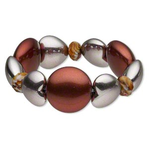 Bracelet, Stretch, Acrylic Glass, Silver Dark Red, 13x9mm Faceted Rondelle / 22.5x20m Puffed Heart / 29mm Puffed Round, 7-1/2 Inches. Sold Individually 4929JD
