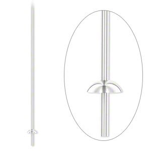 Headpin, Sterling Silver, 3 Inches Cup Peg, 21 Gauge. Sold Per Pkg 4