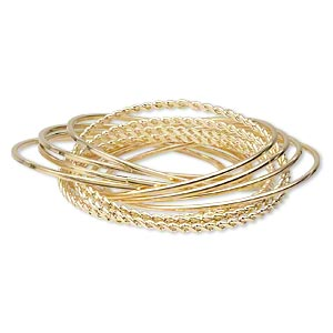Bracelet, Bangle, Gold-finished Steel, (12) 2-4mm Wide Interlocking Bands Smooth Twisted Designs, 7 Inches. Sold Individually 5000JD