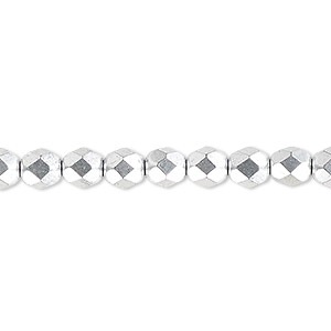 Bead, Czech Fire-polished Glass, Opaque Satin Silver, 6mm Faceted Round. Sold Per 16-inch Strand, Approximately 65 Beads 152-19001-00-6mm-02010-01700