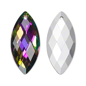 Focal, Glass, Clear Vitrail Silver-foil Back, 32x15mm Double-sided Faceted Marquise. Sold Individually