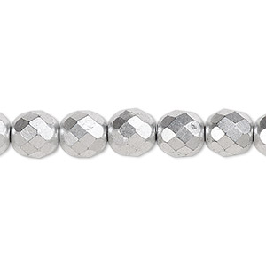 Bead, Czech Fire-polished Glass, Opaque Satin Silver, 8mm Faceted Round. Sold Per 16-inch Strand, Approximately 50 Beads 152-19001-00-8mm-02010-01700