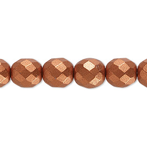 Bead, Czech Fire-polished Glass, Opaque Satin Copper, 10mm Faceted Round. Sold Per 16-inch Strand, Approximately 40 Beads 152-19001-00-10mm-02010-01750