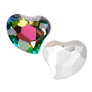Focal, Glass, Clear Vitrail Silver-foil Back, 35x31mm Double-sided Faceted Heart. Sold Individually