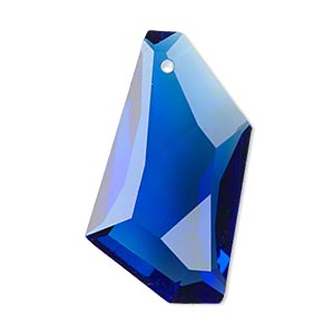 Focal, Glass, Blue, 36x19mm Hand-cut Faceted Stellar. Sold Individually