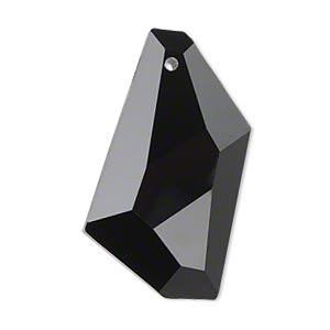 Focal, Glass, Black, 36x19mm Hand-cut Faceted Stellar. Sold Individually