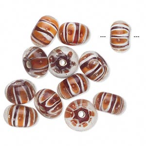 Bead, Glass, Red/orange, 12x8mm Rondelle. Sold Per Pkg 12