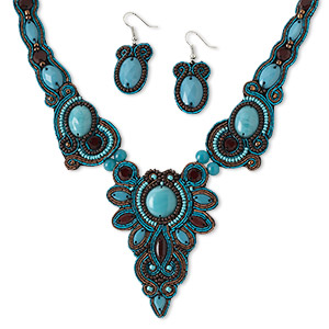Necklace Earring, Glass / Velveteen / Copper French Wire / Silver-plated Steel, Brown Turquoise Blue, 3 X 2-1/4 Inch Focal, 18 Inches Lobster Claw Clasp 2-inch Extender Chain, 1-3/4 Inch Earrings Fishhook Earwire. Sold Per Set 5105JD