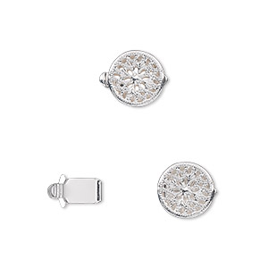 Clasp, Tab, Silver-plated Brass, 9mm Filigree Round. Sold Per Pkg 100