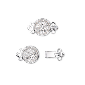 Clasp, 3-strand Tab, Silver-plated Brass, 9mm Single-sided Filigree Round. Sold Per Pkg 100