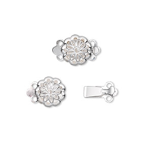 Clasp, 2-strand Tab, Silver-plated Brass, 9mm Filigree Round. Sold Per Pkg 100