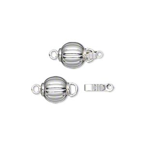 Clasp, Tab Safety, Silver-plated Brass, 8mm Corrugated Round. Sold Per Pkg 10