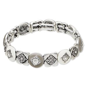 "Bracelet, Stretch, Swarovski® Crystals / Epoxy / Antique Silver-finished ""pewter"" (zinc-based Alloy), Crystal Clear / White / Grey, 13mm Wide Diamond Design, 7 Inches. Sold Individually 5140JD"