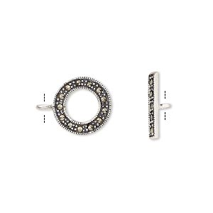 Clasp, Toggle, Marcasite (natural) Antiqued Sterling Silver, 12mm Single-sided Round. Sold Individually