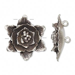 Focal, Hill Tribes, Antiqued Fine Silver, 30x28mm Flower. Sold Individually